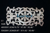 L1 53x29x1 2cm Wood Carved Long Onlay Applique Unpainted Frame Door Decal Working Carpenter Decoration