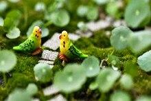 5 unids/lote aves loros 3cm miniaturas Mini gnomos terrarios con musgo resina estatuillas para jardín decoración