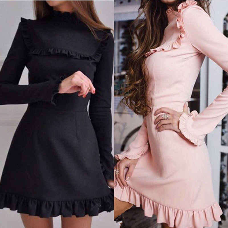 Bigsweety Women's Solid Ruffles Dress Autumn Bodycon Party Dress Casual Ruffles-Neck A-Line Full Butterfly Sleeve Dress Vestidos