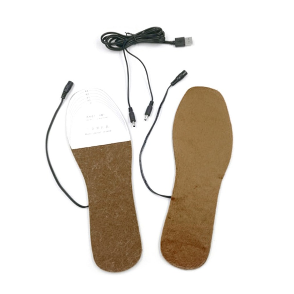 1 Pair Cuttable Winter Boot Insoles USB Heated Foot Warmer Soft Shoes Pads Cushions Comfortable Shoes Accessories Any Cutting