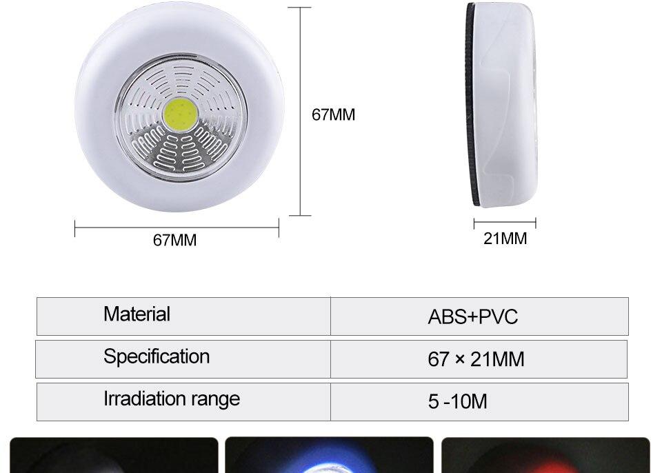 LED Novelty Lighting Wall Light Night Lights COB LED Stick Sticker Tap Touch Cabinet Wardrobe Corridor 3x AAA Batteries (9)
