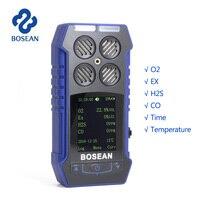 4 в 1 газоанализатор O2 H2S CO горючих кислородный анализатор угарного газа детектор утечки газа с 1800 мА/ч, литий Батарея