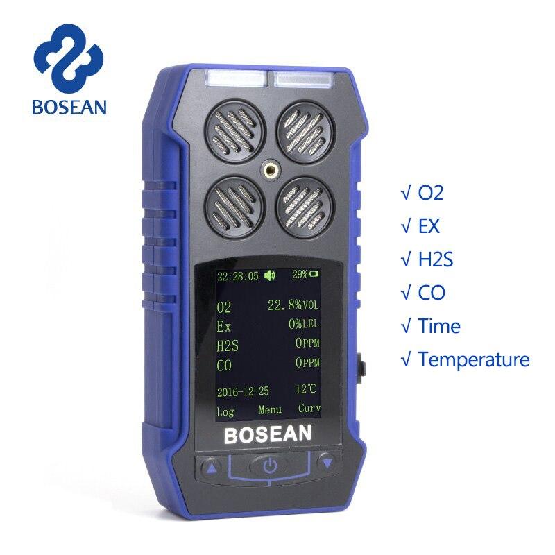 4 in 1 Gas Monitor O2 H2S CO Combustibile Ossigeno Analizzatore di Gas di Monossido Di Carbonio Rilevatore di Fughe di Gas con 1800 mah batteria al litio