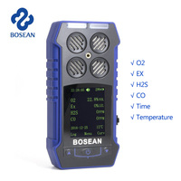 4 in 1 O2 H2S CO Combustible Gas Analyzer Oxygen Carbon Monoxide Gas Monitor Gas Leak Detector with 1800mAH Lithium Battery