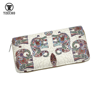 Hot Womens Organizer Wallets Maney Clip Leather Print Elephant Long Ladies Purses With Zipper Coin Pocket