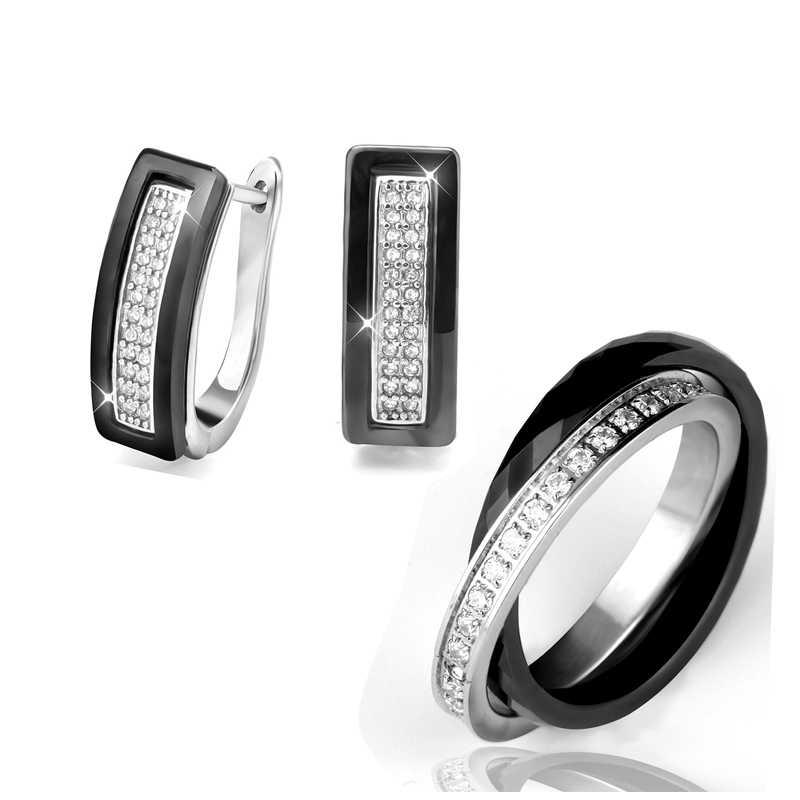 2019 Elegant Style Ceramic Rings & U Shape Stud Earrings Set Women Wholesale Shinning CZ Crystal African Jewelry Sets For Women
