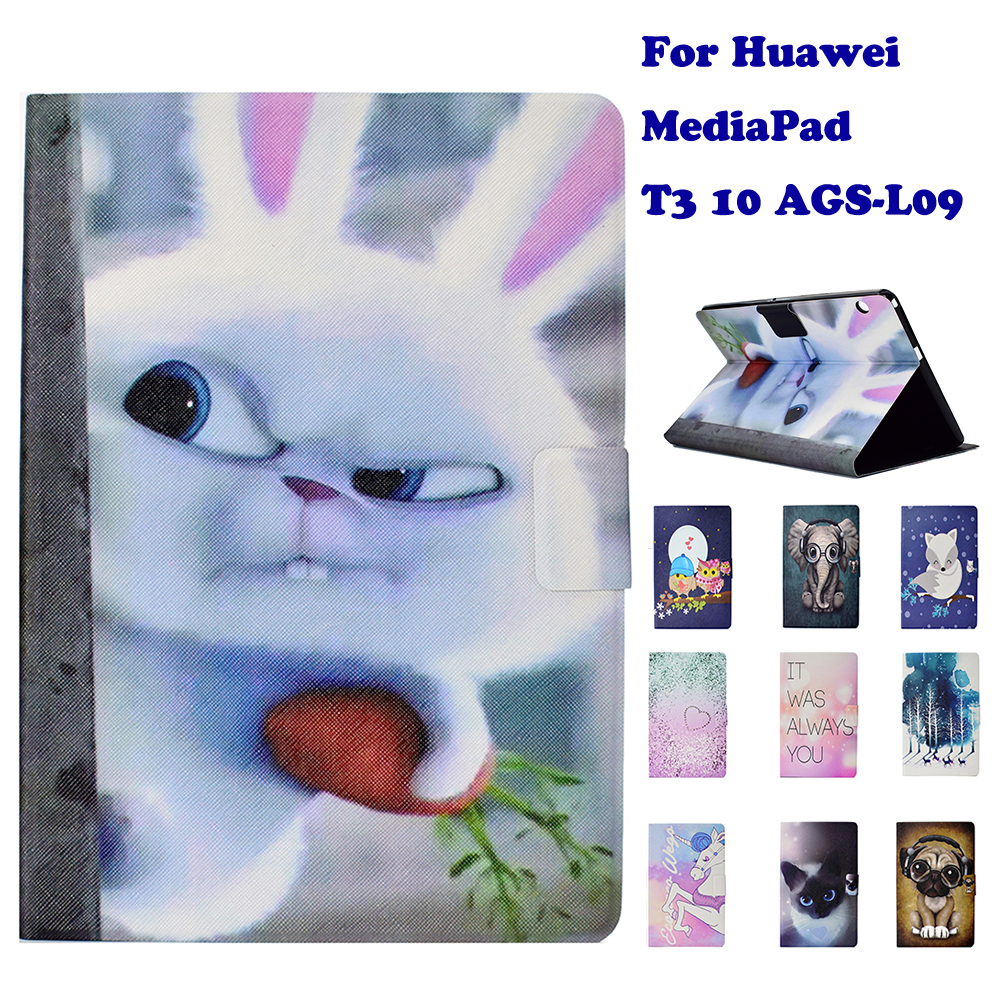 """Fashion Stand Flip PU Leather Case For Huawei MediaPad T3 10 AGS-L09 9.6"""" Tablet Smart Case Cover Fundas Coque Dog Panda"""