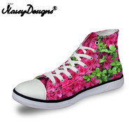 Noisydesigns ladies vintage high top sneakers girls casual vulcanized footwear Women pink 3D flower print flat canvas shoes