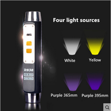 Warsun high quality 365 395 UV Yellow white Four lights LED flashlight  Identification of jade usb rechargeable waterproof white purple yellow light led flashlight stainless steel torch 18650 rechargeable uv torch olight jade identification
