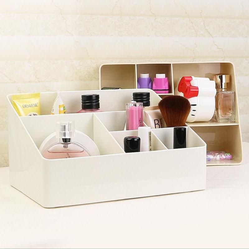 1 Pcs Simple Makeup Organizer 6 Grid Plastic Storage Box Home Gadget Cosmetics Desktop Finishing Organizador 2019 HOT SALE-in Storage Boxes & Bins from Home & Garden