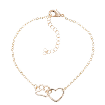 Gift For Her-Cute Cat Paw Print Silver Gold Color Charm Bracelets 1