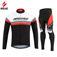 ARSUXEO 2017 Pro Team Men's Long Sleeve Cycling Clothing Sets MTB Bicycle Jersey Set Bike Clothes Ropa Ciclismo Maillot