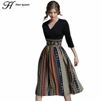H Han Queen Autumn New Printing Casual Women Dresses Retro Big Swing Sexy V Neck Slim