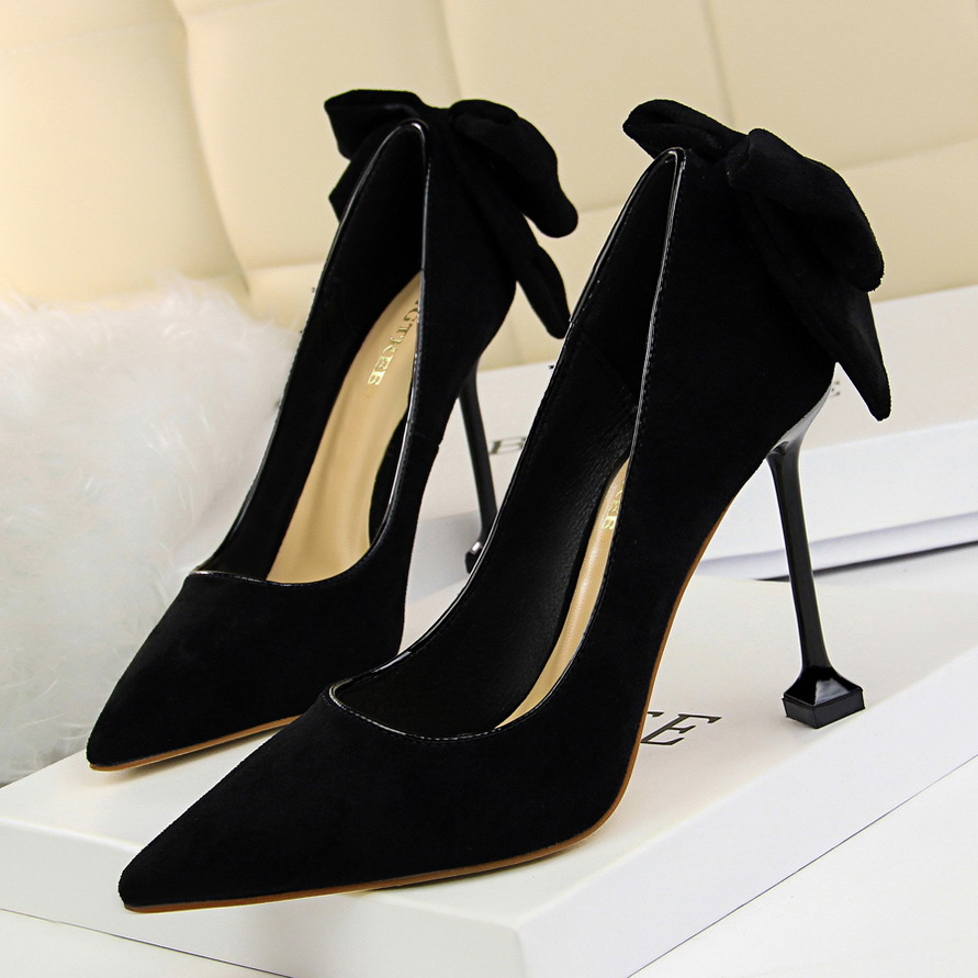 Women Pumps Shoes Butterfly-knot Flock Shallow Slip-On Pointed Toe Thin 9.5cm High Heels Wedding Lady Sexy Party Female Shoes