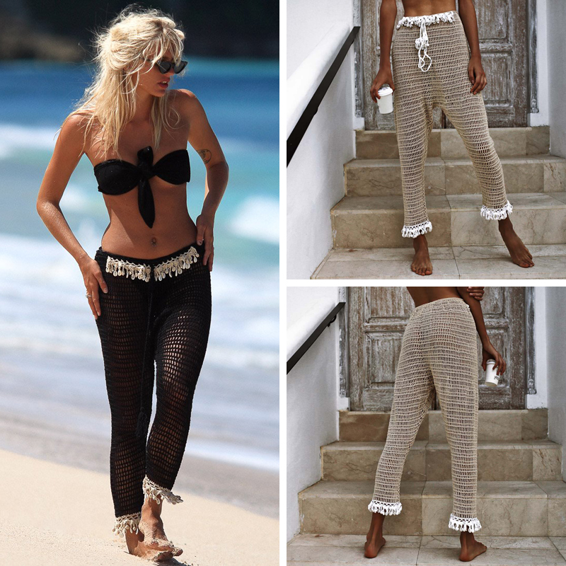 2019 Sexy Beach Bikini Cover Up Pants Elastic Waist Handmade Crochet Knit Mesh Pants Sexy Vacation Women Pants