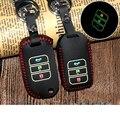 Натуральная Кожа Ключа Автомобиля Охватывает Световой Ключ Сумка Держатель для Honda Civic 2006-2011 2012 2015 Accord ВСР CRV Fit Jazz Автомобиль для укладки