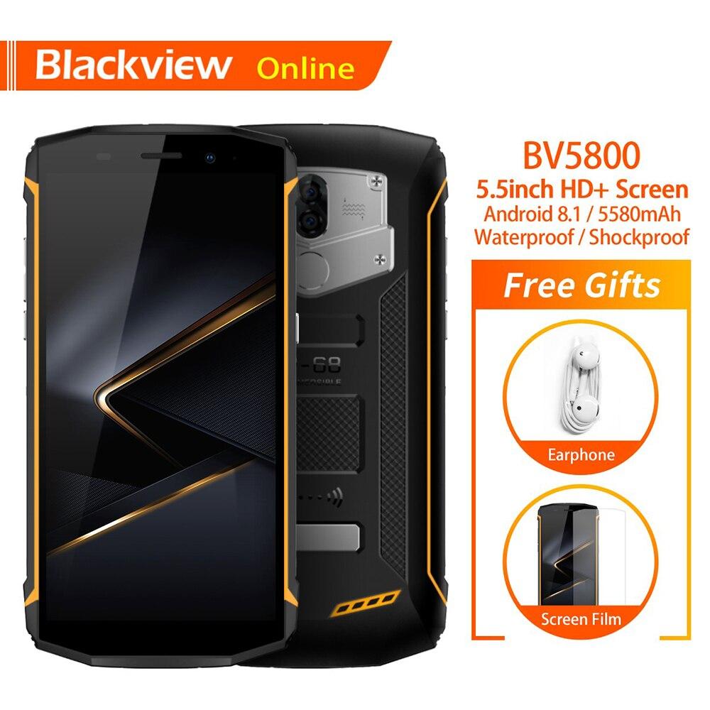 Blackview BV5800 D'origine IP68 Étanche 5.5 Smartphone 2 GB + 16 GB charge rapide 5580 batterie mah NFC 4G Antichoc téléphone portable