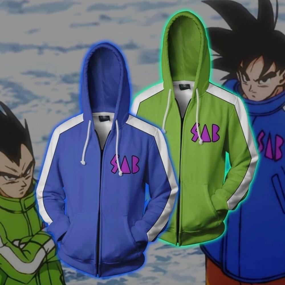 Japan Anime Dragon Ball Son Goku Cosplay Costume 3D Print Hoodies Man Woman Casual Zipper Jacket Sweatshirt