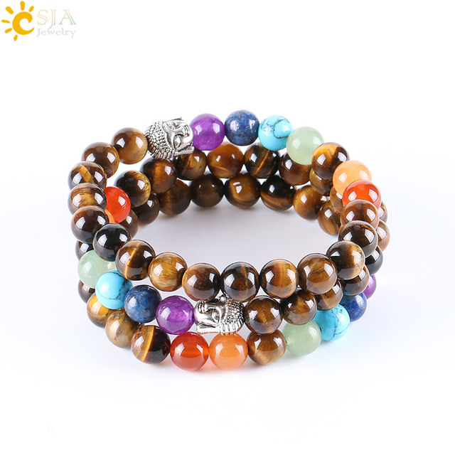 CSJA 8mm Natural Round Stone Tiger Eye Beads Buddha Bracelets 7 Chakra Healing Mala Meditation Prayer Yoga Women Jewellery E329 4