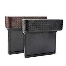 1 Pair Universal Car Seat Side Gap Pocket PU Leather Leak-Proof Storage Box Car Organizer Car Seat Crevice Pockets 25.1cm x5.8cm недорого