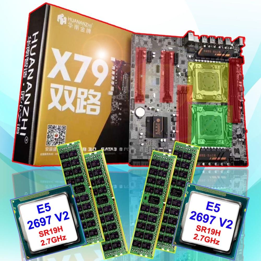 Discount computer HUANAN ZHI dual CPU X79 LGA2011 motherboard with CPU Intel Xeon E5 2697V2 SR19H 2.7GHz RAM 64G(4*16G) REG ECC
