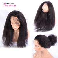 Sunnymay 360 Lace Frontal Kinky Straight Brazilian Virgin Hair Bleached Knots Pre Plucked 360 Frontal With Baby Hair