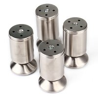Stainless Steel Kitchen Adjustable Feet Round 50MM Diameter 100MM Height Furniture Leg Pack Of 4