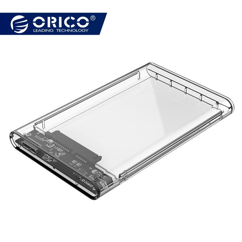 ORICO 2139U3 2,5 zoll Transparent USB3.0 zu Sata 3,0 HDD Fall Werkzeug Freies 5 Gbps Unterstützung 2 TB UASP Protokoll festplatte Gehäuse