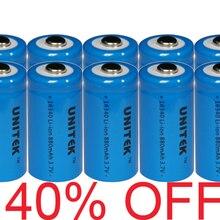 40% OFF 10 pcs UNITEK 3,7 в ICR 16340 литий-ионная аккумуляторная батарея 880 мА/ч, CR123A CR 123A перезаряжаемые литий-ионовая батарея для лазерный фонарик