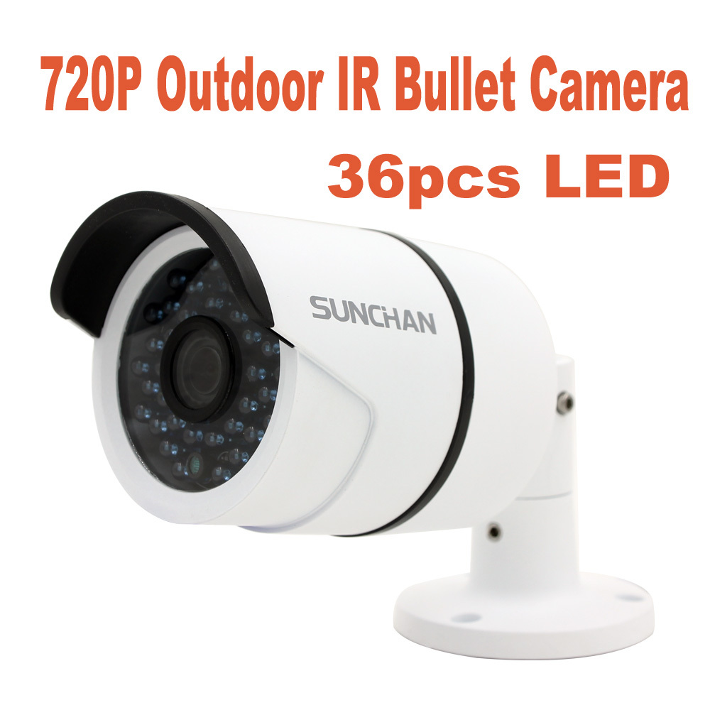 SunChan High Quality AHD Camera Color CMOS 1200TVL 36 IR LEDs Night Vision Waterproof Camera Outdoor CCTV Camera with Bracket