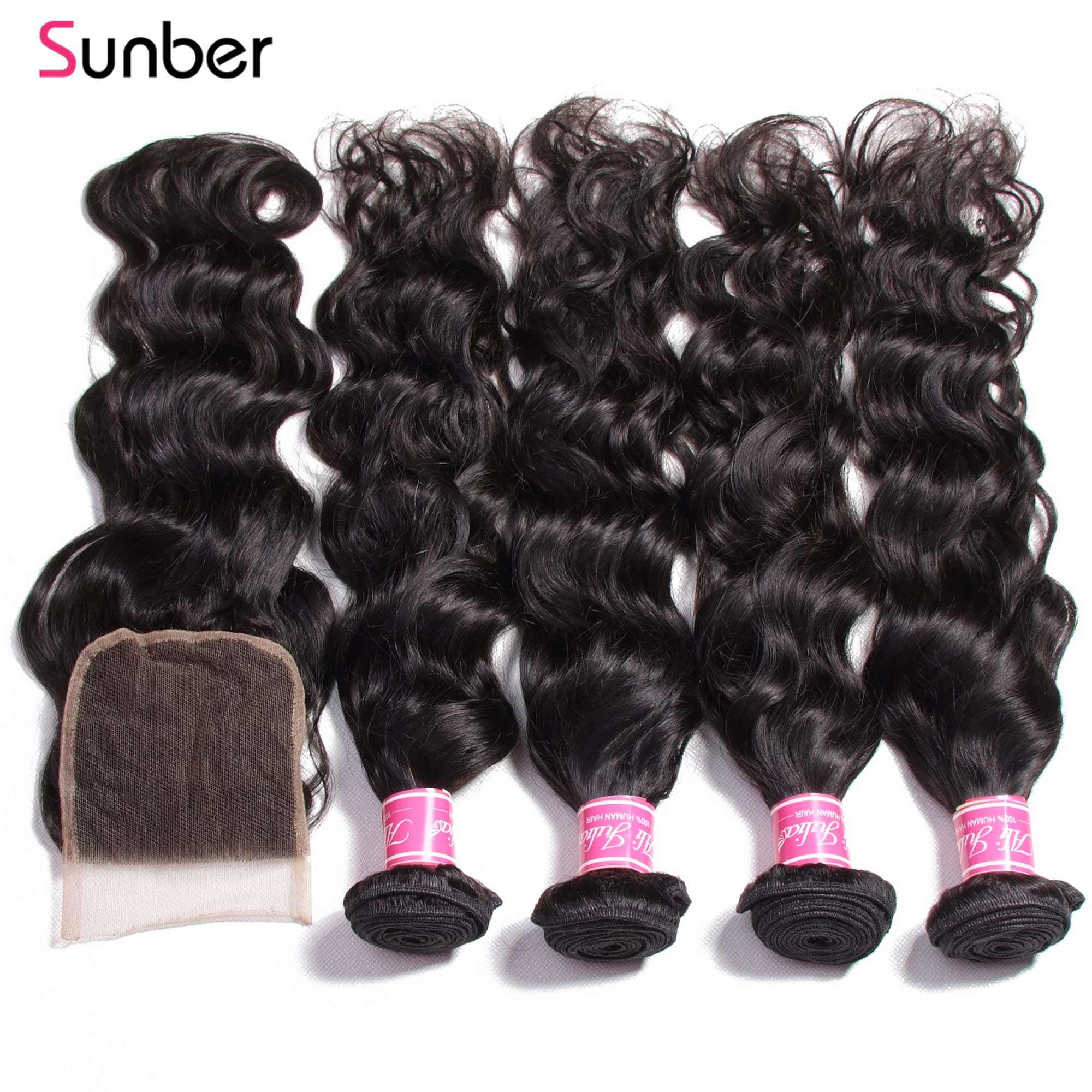 Sunber Natural Wave Peruvian Hair Bundles With Closure Remy Human Hair Weaves With Closure 3/4Pcs/Lot Lace Closures With Bundles