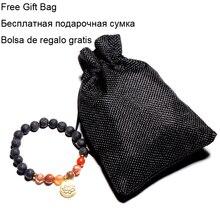 Bracelet Pierre De Lave et Pendentif Fleur de Lotus Sacré