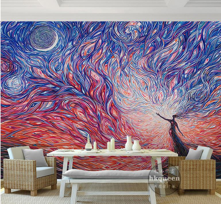 custom 3d wall murals wallpaper Abstract painting 3d wallpaper walls Non-woven 3d room wallpaper landscape
