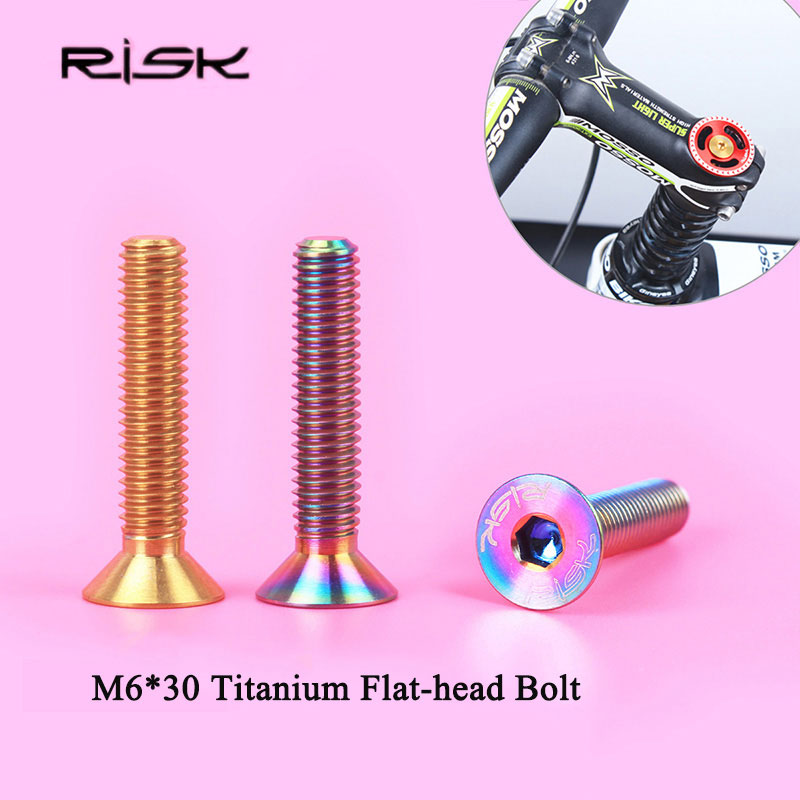 RİSK 1PCS / çox M6 * 30mm Titan Velosiped Stigma Boltları MTB Velosiped Düz başlı Bolts Dağ Velosipedi Başlıq Velosiped Qulaqlıq Vintləri