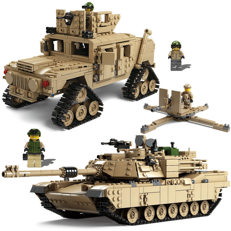 Kazi Technic Enlighten Toys Military Gun Weapon ABRAMS Tank Model Building Blocks Compatible Bricks Toys Star Wars Legoed Lepin lepin 22001 pirate ship imperial warships model building block briks toys gift 1717pcs compatible legoed 10210