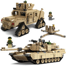 Kazi Technic Enlighten Toys Military Gun Weapon ABRAMS Tank Model Building Blocks Compatible Bricks Toys Star