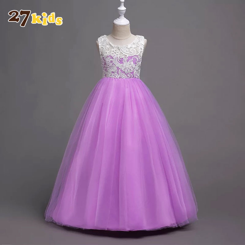 27Kids Baby Girl Clothes Wedding Birthday Party Princess Dress Summer Lace Girls Dresses Children Clothing Fashion Vestidos цена