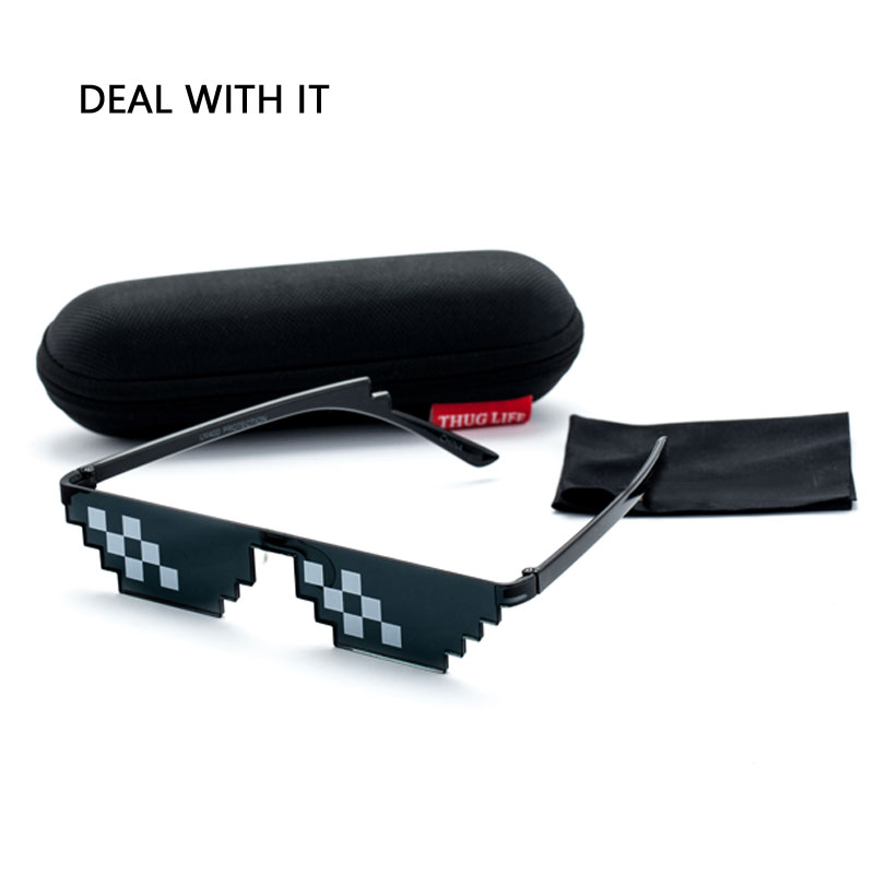 Deal Mit Es Sonnenbrille Männer Thug Life Gläser Frauen 2017 Heißer Verkauf Plus Größe Minecraft Polygonal 8 Bits Stil Pixel mit Nase Pad