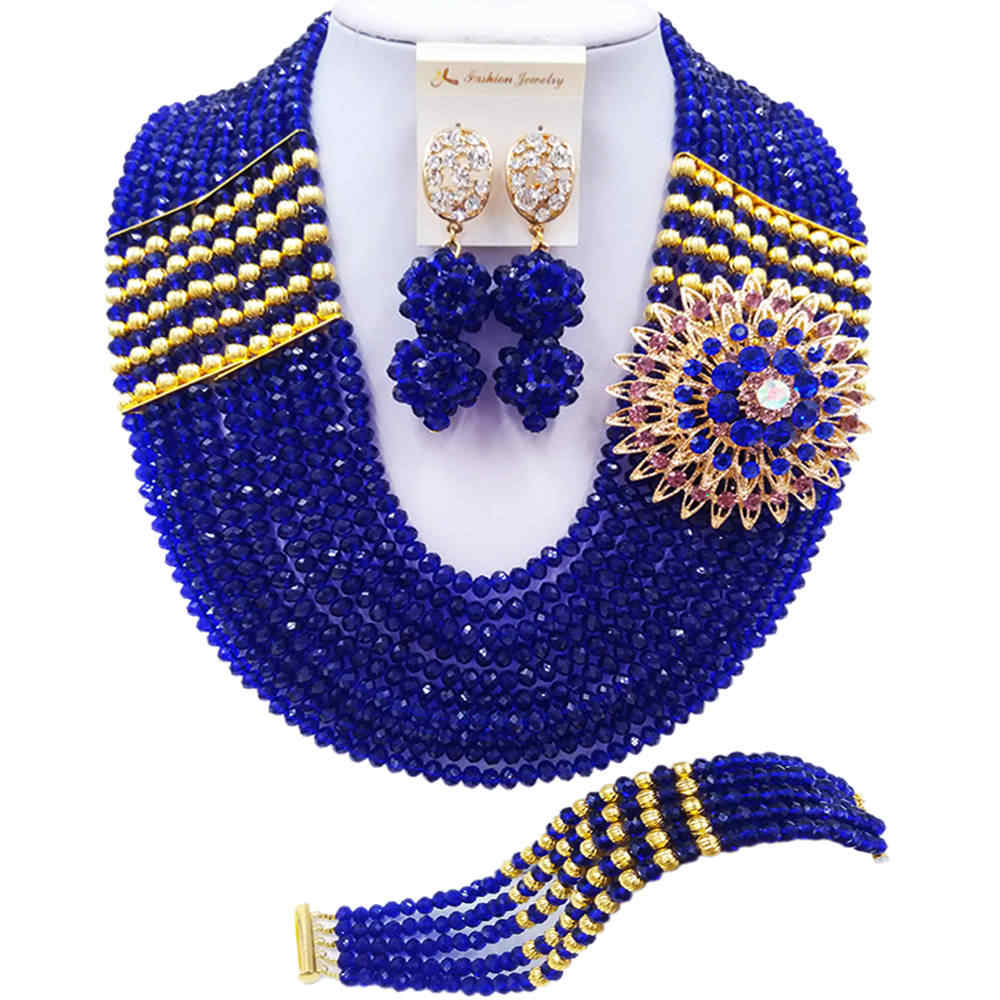 ACZUV Royal Blue African Beads Jewelry Set Nigerian Necklace 10C-2-2P-006