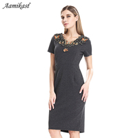 AAMIKAST Womens Elegant Vintage Embroidery Ruched Slim Tunic Casual Party Evening Special Occasion Sheath Pencil Bodycon Dress