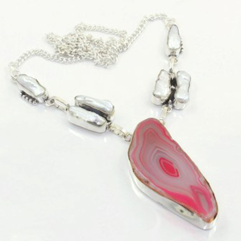 Solar Quarts Biwa Pearls Necklace Silver Overlay over Copper 47 5 cm N3839 in Pendant Necklaces from Jewelry Accessories