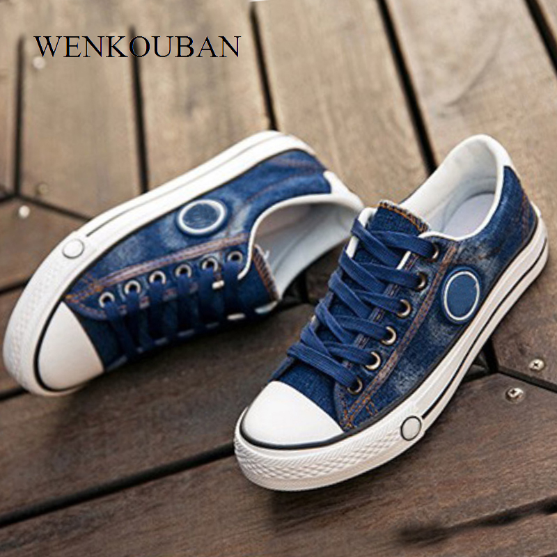 Vulcanized Shoes Women Canvas Sneakers Flat Denim Casual Shoes Women Trainers Stars Ladies Sneakers Rubber Sole Tenis Feminino(China)