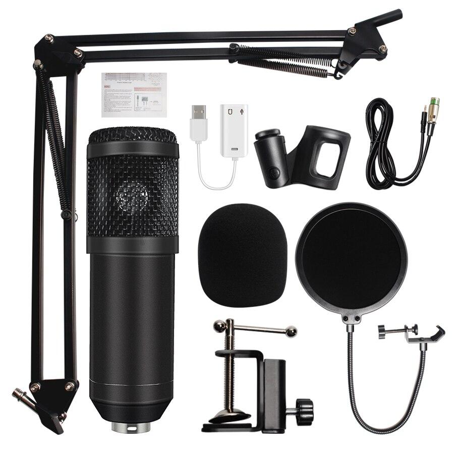 Microfone bm 800 microfone de estúdio profissional microfone bm800 condensador microfone de gravação de som para computador
