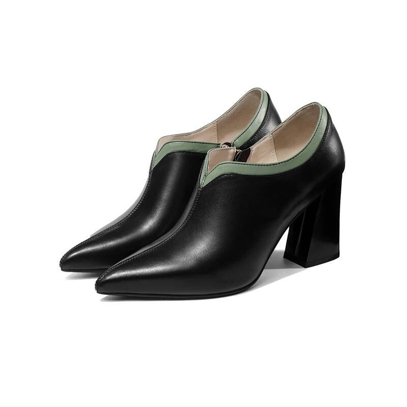 Morazora 2020 최고 품질의 정품 가죽 신발 지적 발가락 여성 펌프 간단한 지퍼 패션 광장 하이힐 신발 여성-에서여성용 펌프부터 신발 의  그룹 3