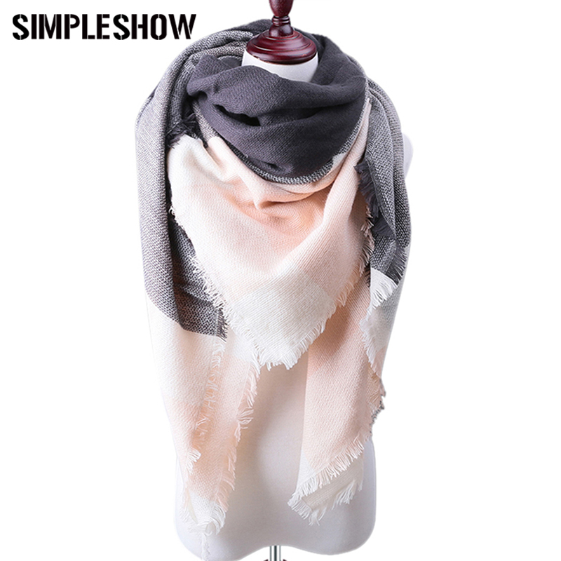 SIMPLESHOW Winter Women Plaid Cashmere Scarves Shawls Warm