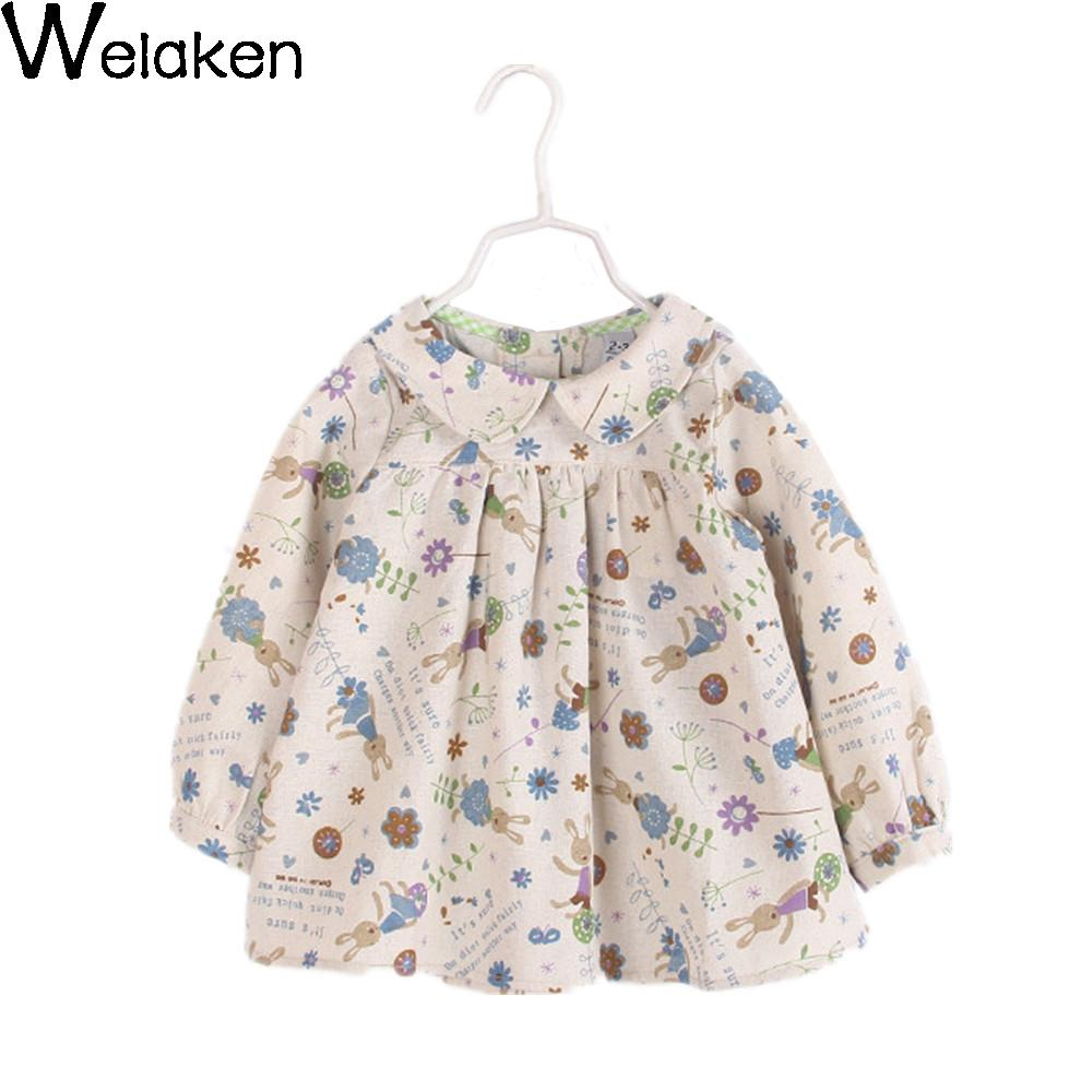 New Fashion 2016 Girl Blouse Rabbit Print Long Sleeve Cotton Linen Children Tops Spring Doll Shirt Kids Girl Blouse