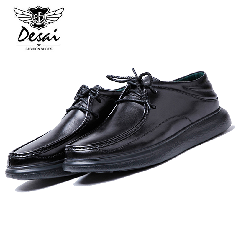 DESAI Genuine Leather Men Fashion Simple Soft Cow Leather Casual Shoes Men Loafers Lace Up Leisure Moccasins Shoe DS0010 top brand high quality genuine leather casual men shoes cow suede comfortable loafers soft breathable shoes men flats warm