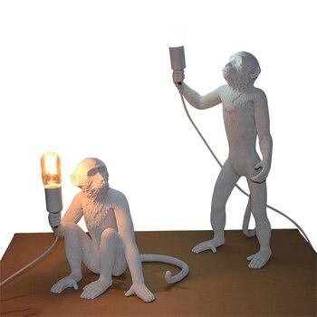 Art Moderne Singe Lampes De Table Loft Style Fait à La Main Résine Singe Table De Chevet Lumières Pour La Maison Chambre étude Luminaire Avize