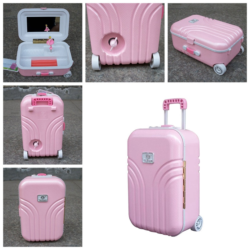 Cute Creative Trolley Suitcase Princess Dancing Luggage Music Box Jewelry Storage Box Cafe Book Store Wedding Party Girls Room