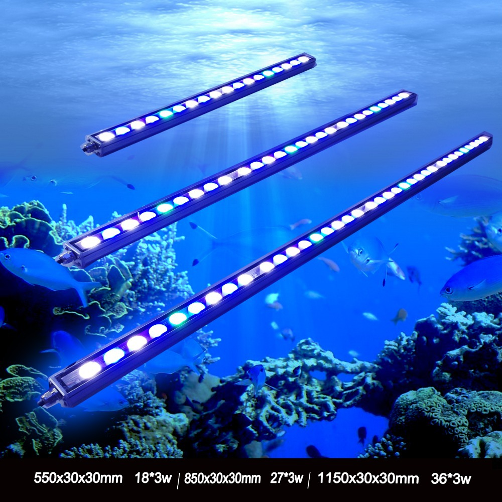 цена на 1pcs 54W/81W/108W Waterproof IP65 Waterproof LED aquarium bar light for reef coral growth fish tank lamp lighting stock in DE/US